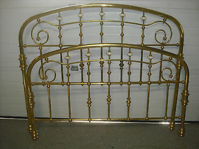 Vintage Soild Brass Queen Size Bed Headboard and Footboard