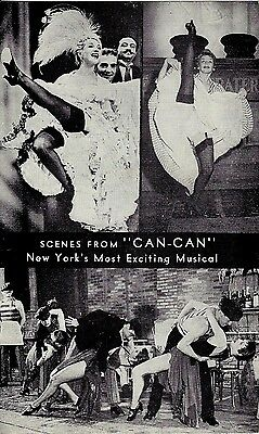 """Cole Porter """"CAN-CAN"""" Lilo / Peter Cookson / Shubert Theatre 1953 Promo Postcard"""