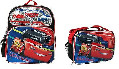 "Disney Cars 3 Boys 12"" Canvas Black & Red School Backpack with Lunch Bag"