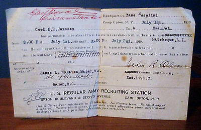 United States Army Leave Pass Camp Upton New York 1919
