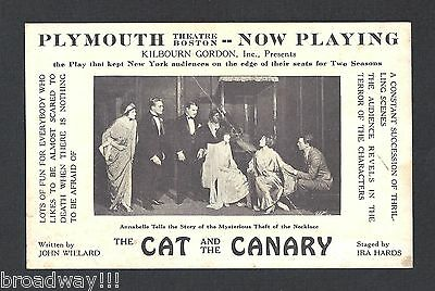 """John Willard """"THE CAT AND THE CANARY"""" Percy Moore 1922 Boston Theatre Postcard"""