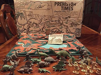 MARX Vintage Prehistoric Times  Play Set With  Dinos, Humans, Booklet, And Base.