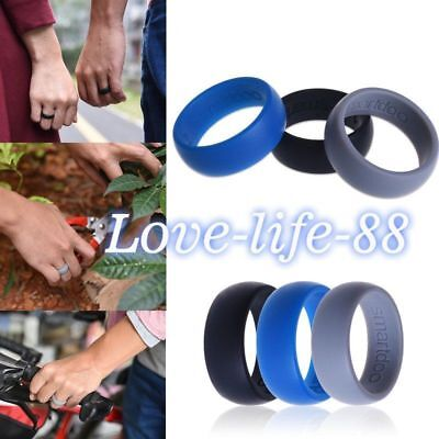 3pcs Men& Women Love Wedding Band Rings Rubber Silicone Flexible Outdoor Sports