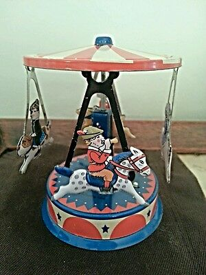Schylling PULL & SPIN Tin Metal CAROUSEL Reproduction Toy