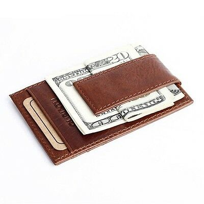 Leather Men's Fashion Wallet Money Clip ID Credit Cash Holder