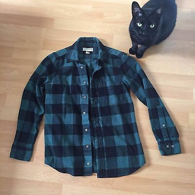 Green American Apparel plaid flannel tomboy shirt X-SMALL