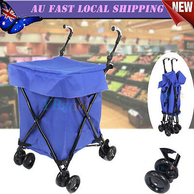 4 Wheel Shopping Trolley Collapsible Luggage Bag Basket Folding Cart Market Blue