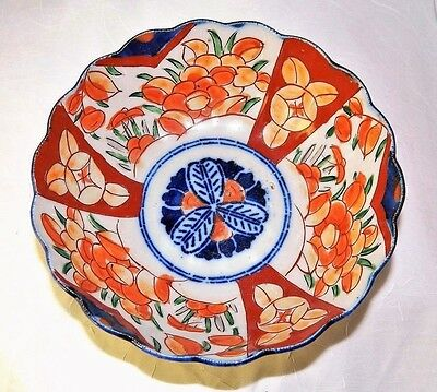 "~ Antique HAND PAINTED Scalloped IMARI PORCELAIN BOWL Deep VIVID BLUES 7 - 8"" ~"