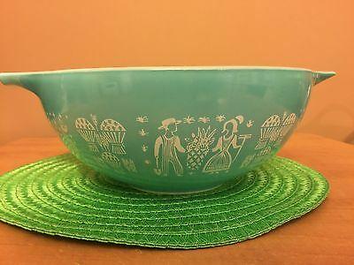 Vintage 1950S Pyrex Cinderella /Amish /Rooster Turquoise Large Nesting Bowl #444