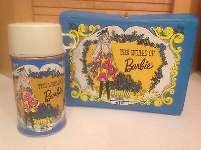 Vintage 1971 The World Of BARBIE Vinyl Lunchbox & Metal Thermos Great Condition