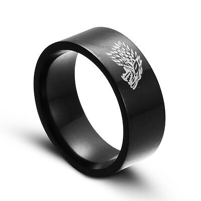 Game of Thrones House Stark Ring Direwolf Wolf Ring Black Stainless Steel Band