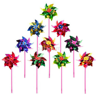 10Pcs Handmade Colorful Windmill Pinwheel Wind Spinner Outdoor Kids Toy Gift HOT