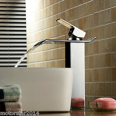 Bathroom Sink Faucet Vessel Waterfall with Ceramic Valve Single Handle One Hole