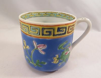 Antique Chinese Famille Rose Porcelain Tea Cup Blue Flowers Republic China (EL)
