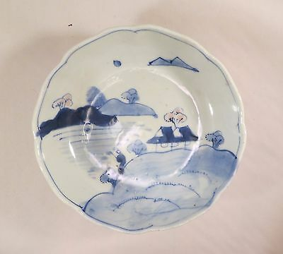 Antique Japanese Arita Imari Ceramic Blue White Pink Bowl Village Japan B (EL)