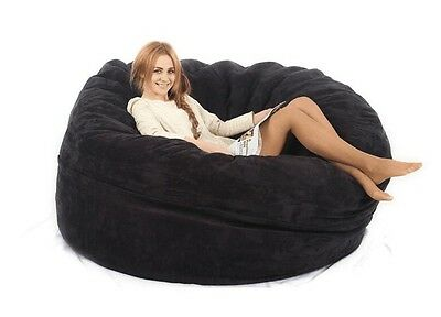 Large Beanbag Adult Size Suede Lounge Lazy Chair Dorm Living Room Cover