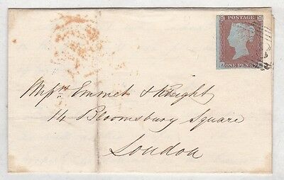 GB QV 1848 ENTIRE cover Barnard Castle Durham to London 1d red stars