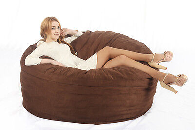 Large Beanbag Adult Size Brown Suede Lounge Lazy Chair Dorm Living Room Cover