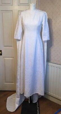 Vintage French 1960's Unusual White Wedding Bridal Dress with Cape Retro