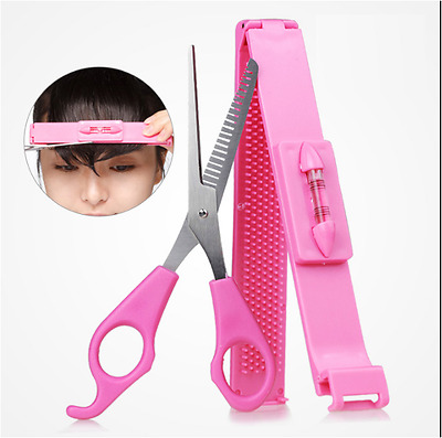 Clipper Comb Scissors + Spirit Level Ruler Fringe Cut Tool Kit