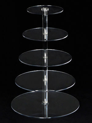5 Tiers Crystal Clear Acrylic Round Cake Cupcake Stand Birthday Wedding Display