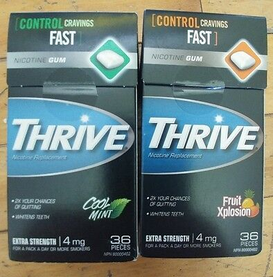 Unopen Thrive quit smoking gum 4mg cool mint and fruit xplosion flavors 2x36 pcs
