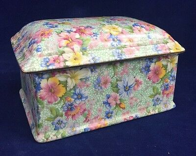 Vintage Royal Winton Chintz Musical Jewellery Box Marion Pattern 1950's
