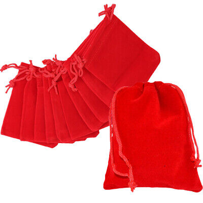 10 20 50 Red Luxury Velvet Jewellery Drawstring Wedding Pouches Gift Bags