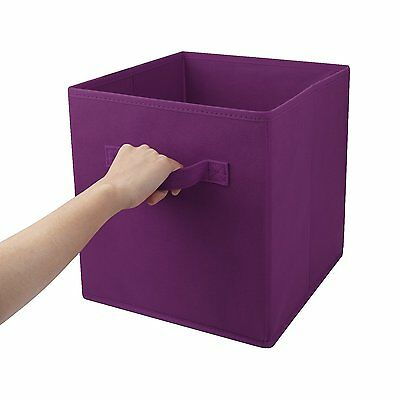 3PK Foldable Fabric Storage Bins Closet Organizer Cube basket Container Purple