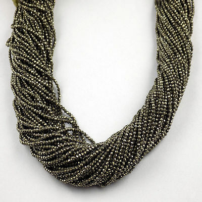 """2 Strand Pyrite Rondelle Shape 2.10mm Micro Faceted Gemstone Beads 13"""" Long"""