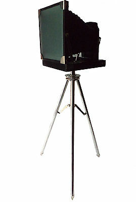 Vintage Old Theme Wooden Camera Decorative Replica Steel Tripod Stand Home Decor