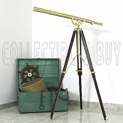 "Nautical Telescope Wooden Tripod Replica Design 39"" Spyglass Vintage Gift Item"