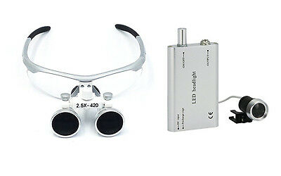 Dental 2.5x420mm Surgical Medical Binocular Loupes+Portable Dental LED Headlight