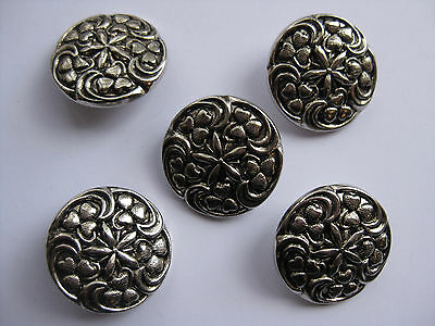 25mm  Large Antique Silver Pattern Vintage Sewing Buttons  Set of 6