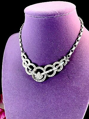Gorgeous Art Deco Sterling Silver Crystal Rhinestone Choker Necklace Pendant