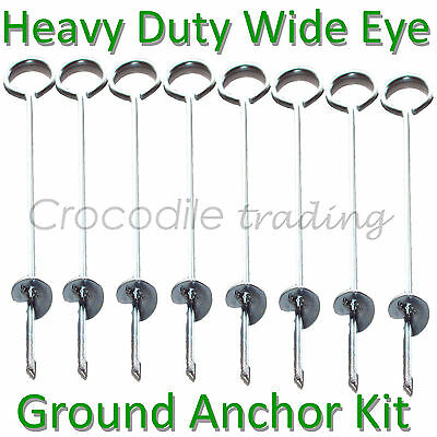 8x Ground Anchor Kit. Polytunnel, Poly Tunnel, Greenhouse, Tent, Marquee, Gazebo