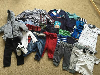 Boys Clothing Bundle 9-12 Months Trousers Tshirts UV Swimsuit Shoes Mixed Brands
