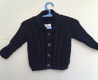 Next Baby Boy Navy Cable Knitted Cardigan (0-3 months)