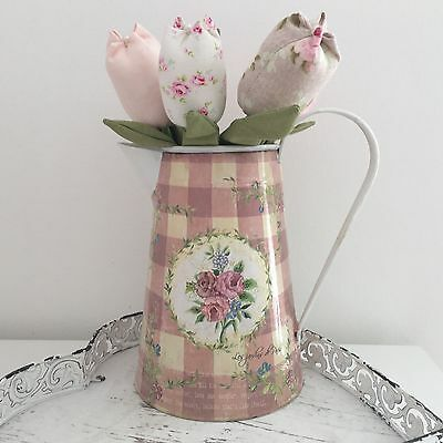 Metal Cream Pink Jug Floral Shabby Vintage Chic Flowers Gift Kitchen Home gift