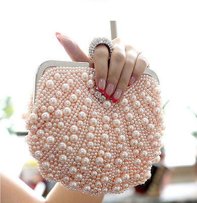 Fashion Women Evening Handbag Wedding Beaded Clutch Purse Bridal Pearl Bag