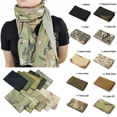 Fishing Net Mesh Tactical Camouflage Scarf Neckerchief  Outdoor Military Men