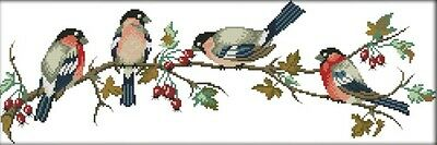Bullfinches. 14CT counted cross stitch kit. Craft brand new.