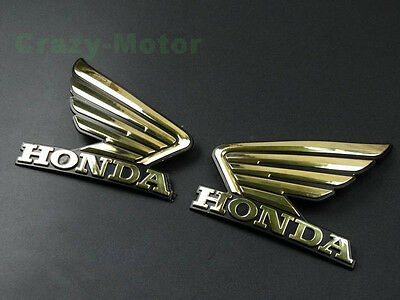 Gold 3D Wing Fuel Tank Badge Emblem Decal Sticker Custom For Honda Motorcycles