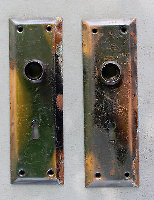 Antique brass matching door lock plates vintage