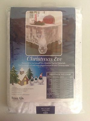 "Benson Mills Christmas Eve Knit Table Cloth 60""x120"" Oblong  2014"