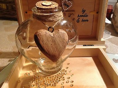 Large decor glass bottle rustic shabby natural Wood heart with jute 13x12 cm