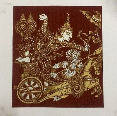 The Ramayana Thai Art Silk Painting Handmade Picture Beautiful Home Wall Decor