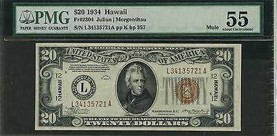 FR2304 1934 Mule PMG 55 About Uncirculated HAWAII