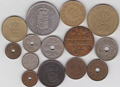 14 Coins From Denmark Dated 1771 To 1977 In A Used Condition
