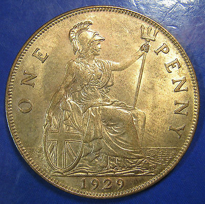 1929 1d George V bronze Penny - UNC, lustrous, and lovely